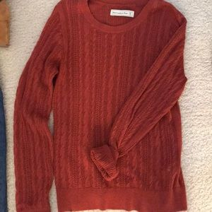 Abercrombie Red Cable Knit Crew Sweater (M)